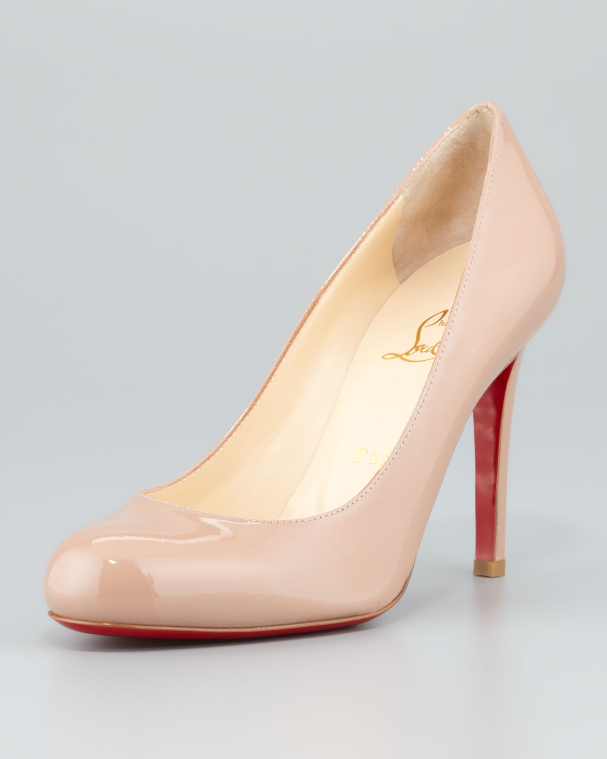 59c56987c37 Christian Louboutin Pink Simple Patent Red Sole Pump Nude