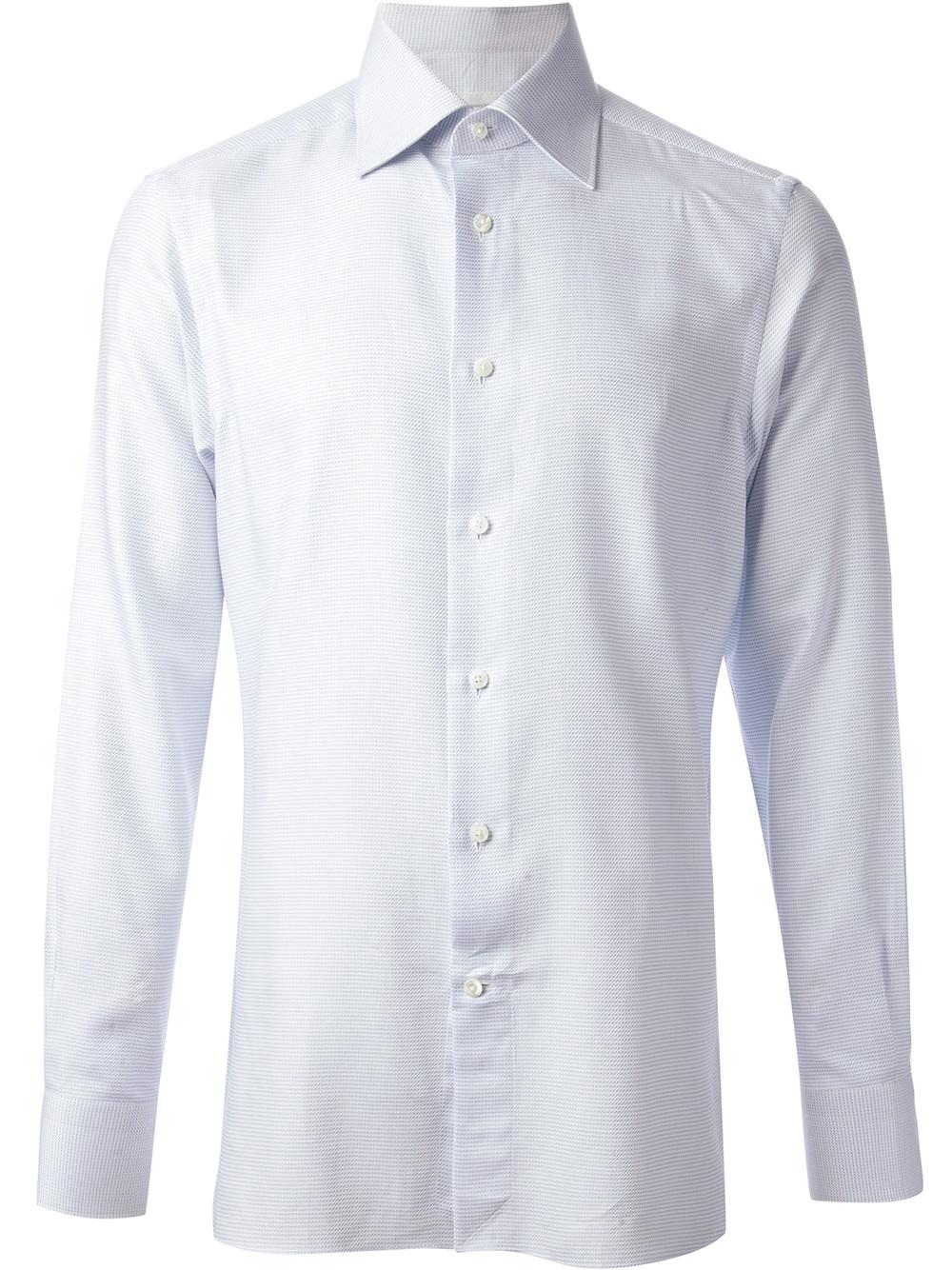 ermenegildo zegna pointed collared shirt in white for men lyst. Black Bedroom Furniture Sets. Home Design Ideas