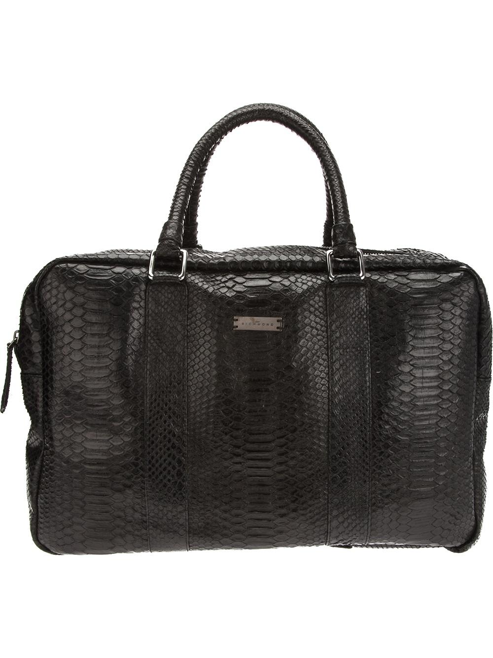 John richmond Python Skin Bag in Black for Men