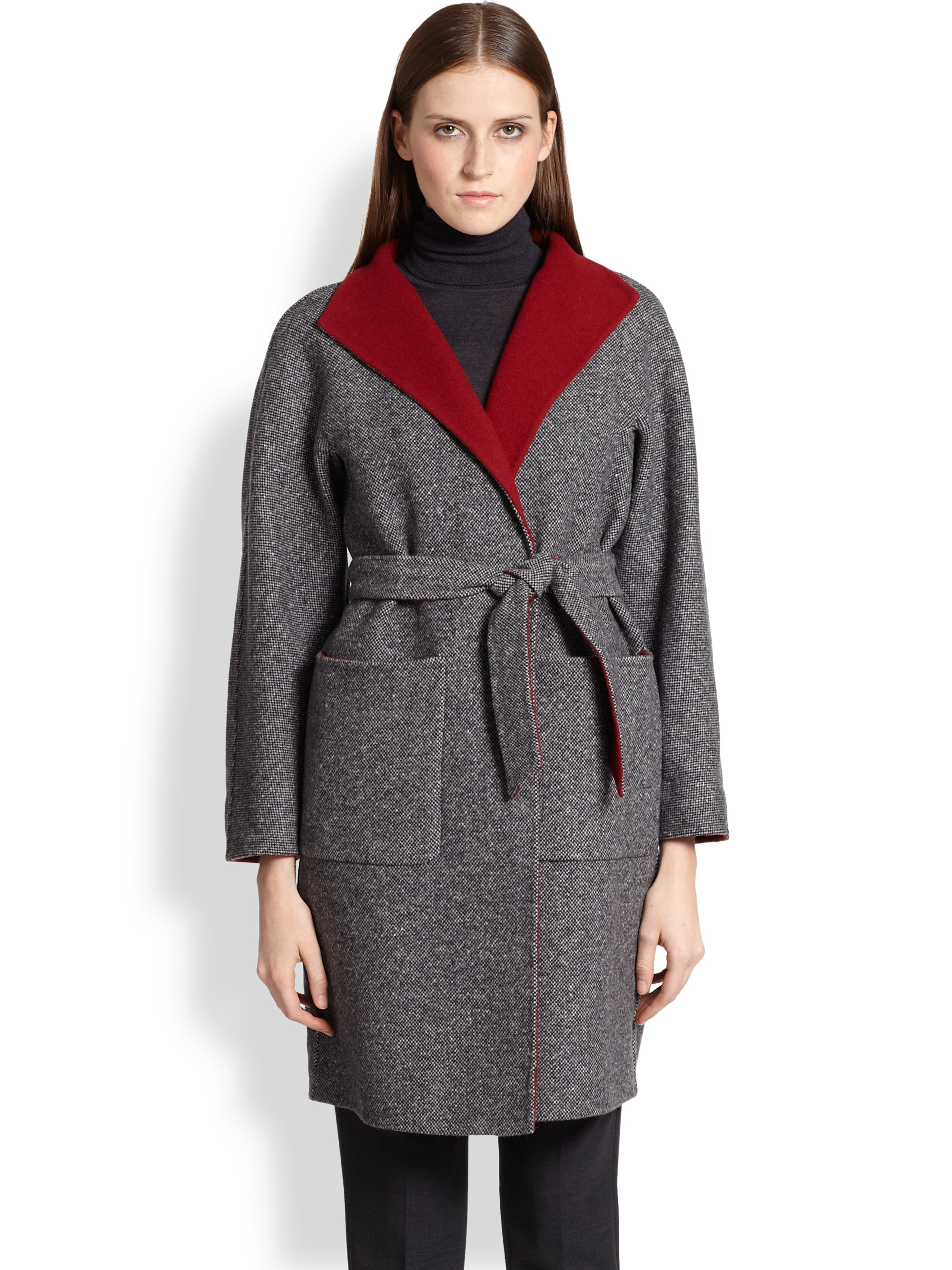 Max mara Oronte Tweed Wrap Coat in Gray | Lyst