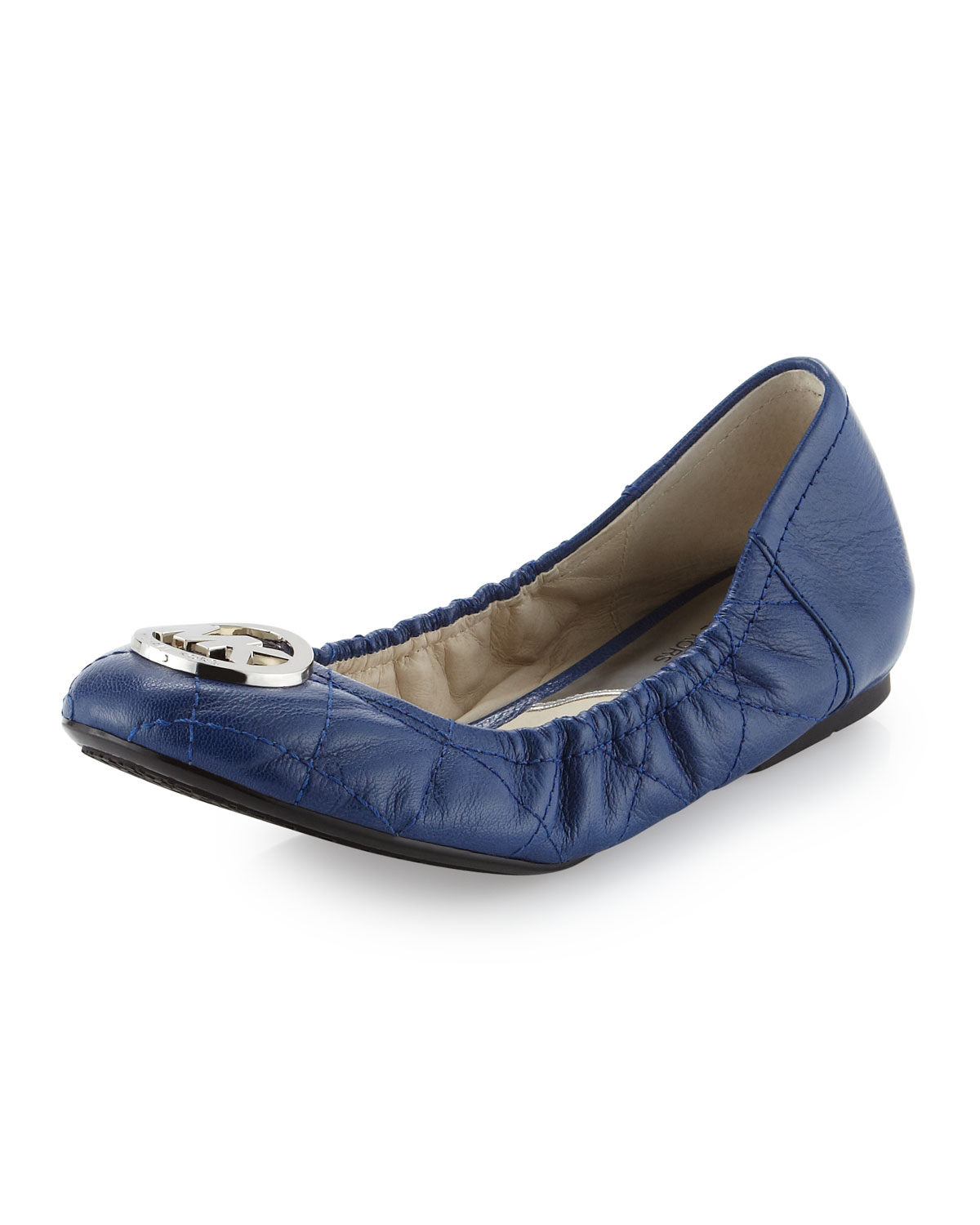 michael michael kors fulton quilted ballerina flat in blue sapphire lyst. Black Bedroom Furniture Sets. Home Design Ideas