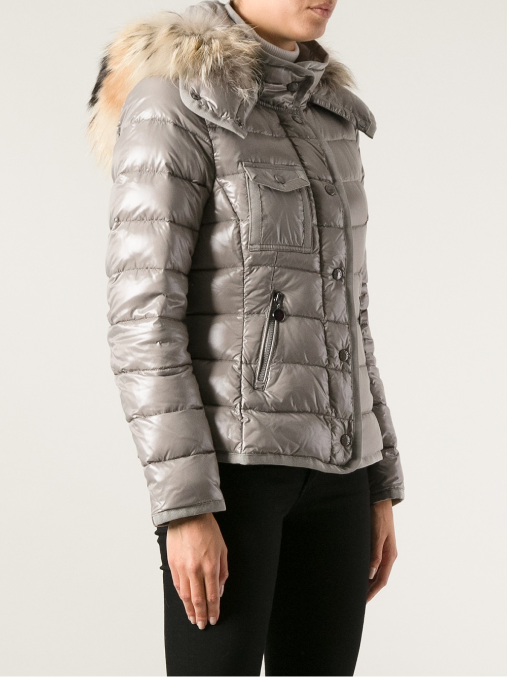 dcbbfcbcb3210 Moncler Fur Hood Padded Jacket in Gray - Lyst