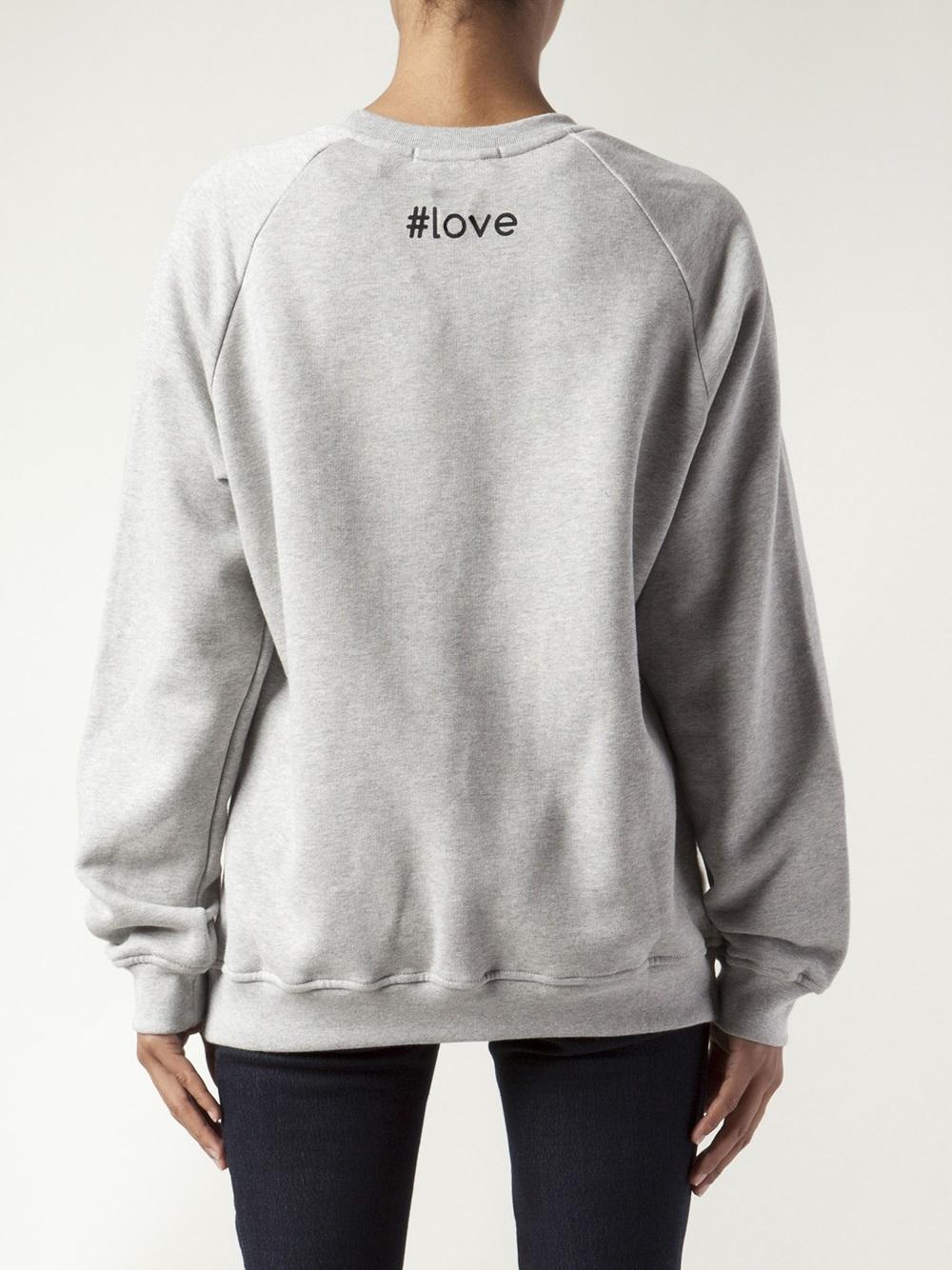 Msgm Heart Print Sweatshirt In Gray Lyst