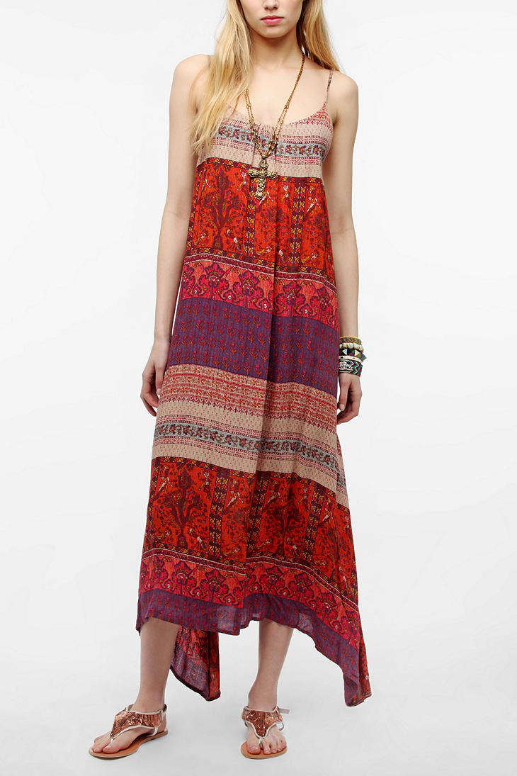Urban outfitters Ecote Printed Tie Back Maxi Dress in Red   Lyst