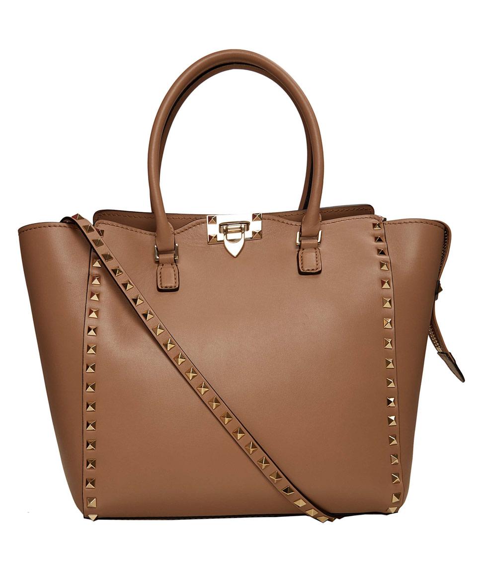 lyst valentino tan rockstud leather bag in brown. Black Bedroom Furniture Sets. Home Design Ideas