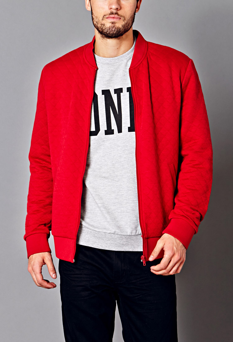 Lyst - Forever 21 Quilted Bomber Jacket in Red for Men