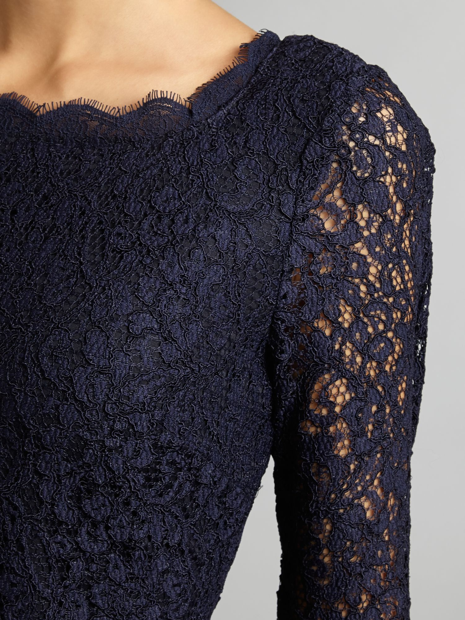 Adrianna Papell Long Sleeve Lace Gown in Blue - Lyst
