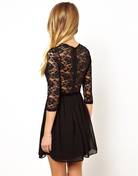 Scalloped Lace Skater Dress Lace Skater Dress in Black