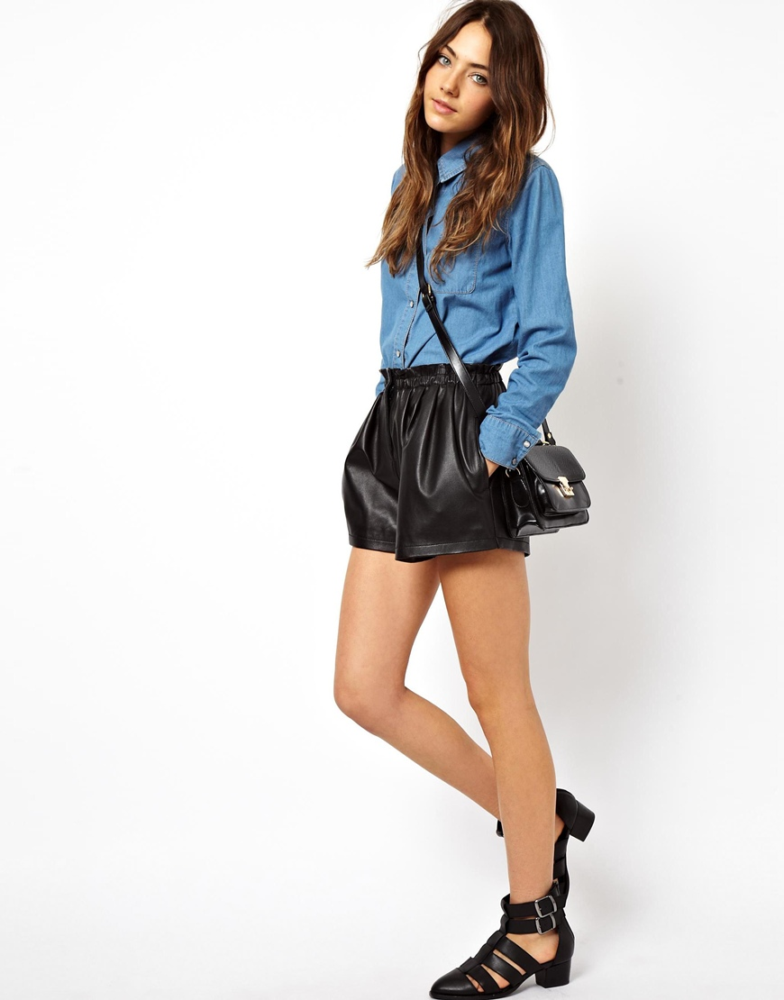 Asos Leather Shorts With High Waist Detail in Black