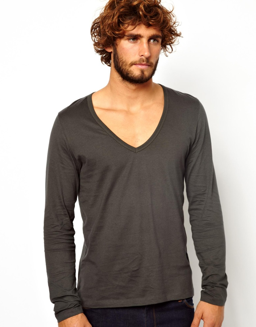 Lyst - ASOS Long Sleeve Tshirt with Deep V Neck in Black for Men d16b4b006