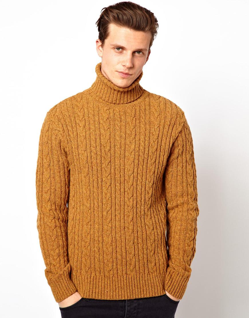 Edwin Roll Neck Sweater Batallion Cable Knit in Orange for Men | Lyst