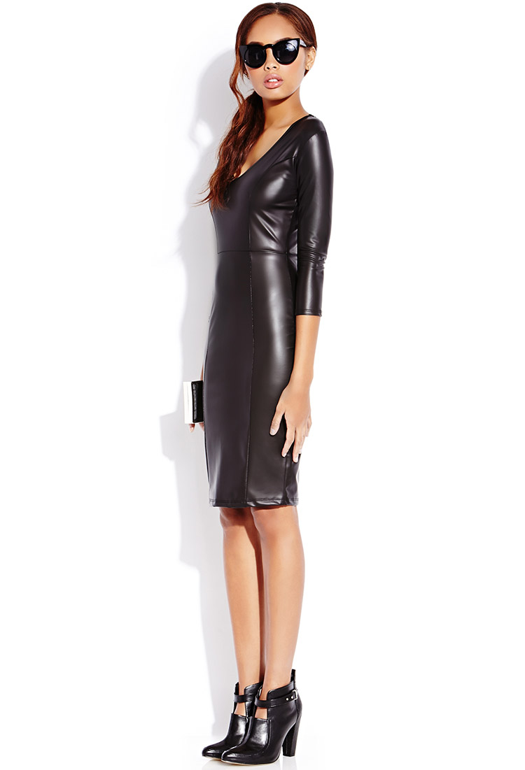 Forever 21 Sleek Faux Leather Midi Dress in Black | Lyst