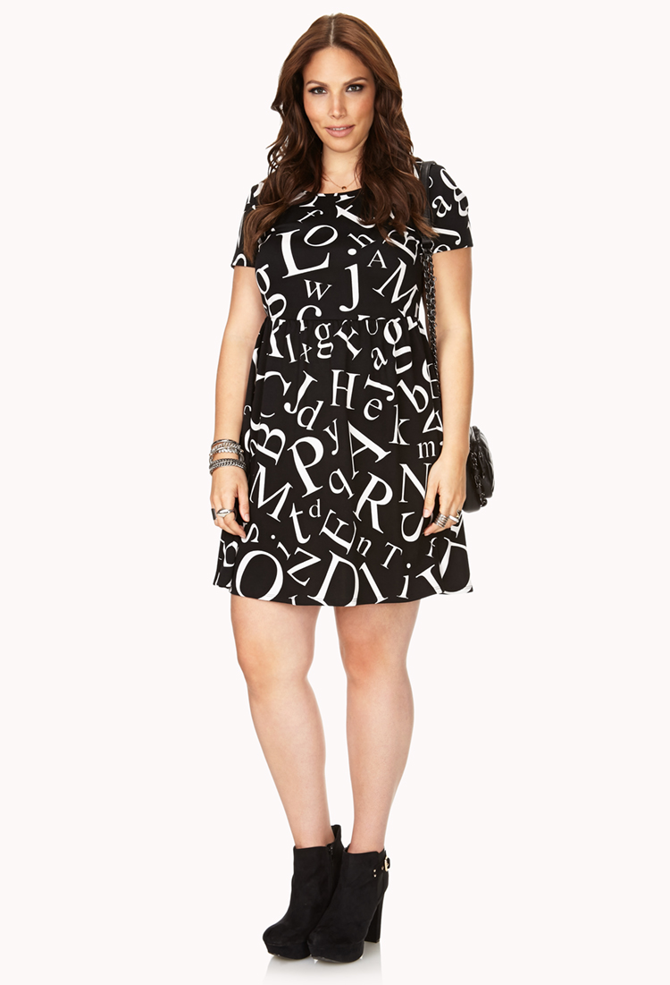 Lyst Forever 21 Statement Making Letter Print Dress In Black