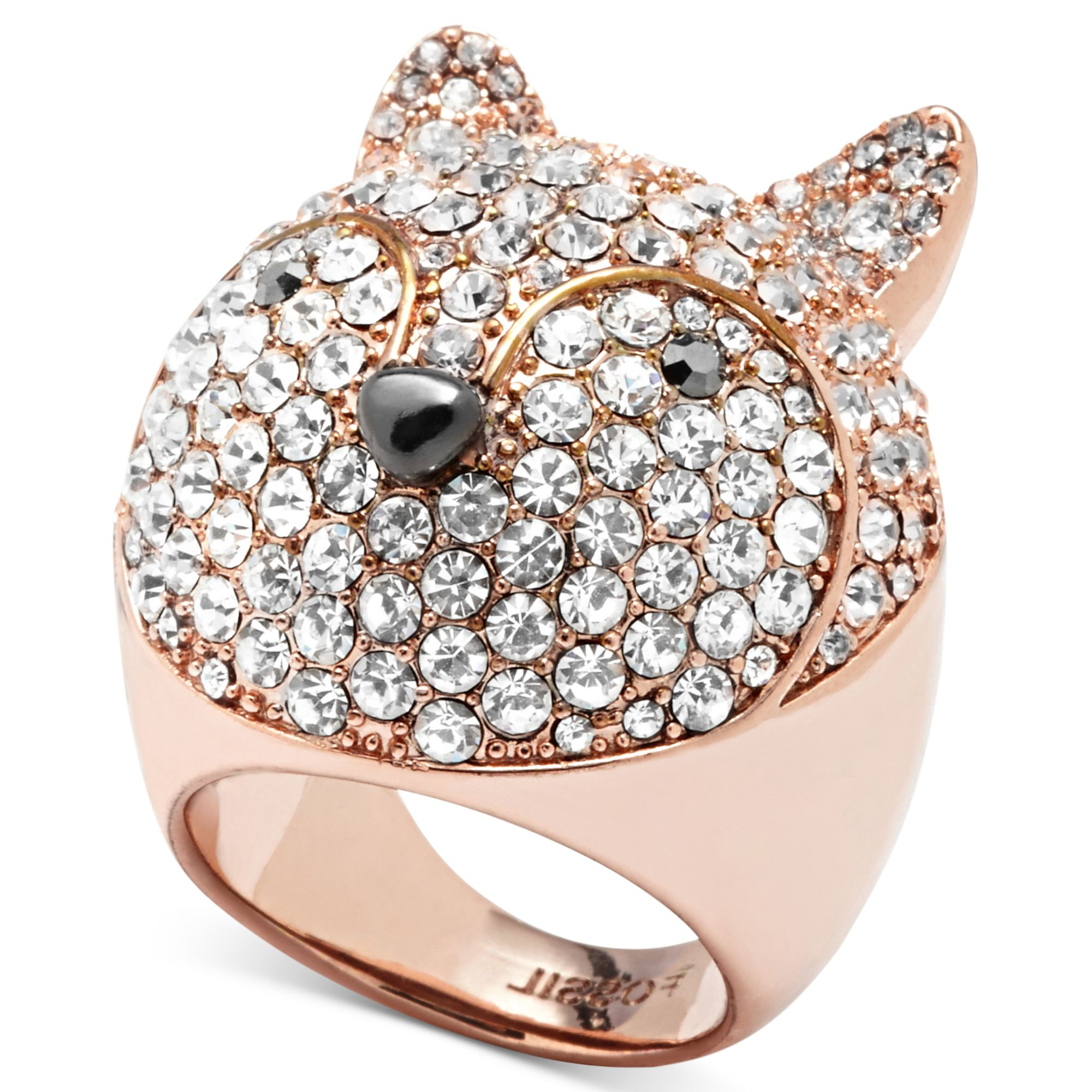 fossil rose gold tone crystal pave fox dome ring in pink lyst. Black Bedroom Furniture Sets. Home Design Ideas