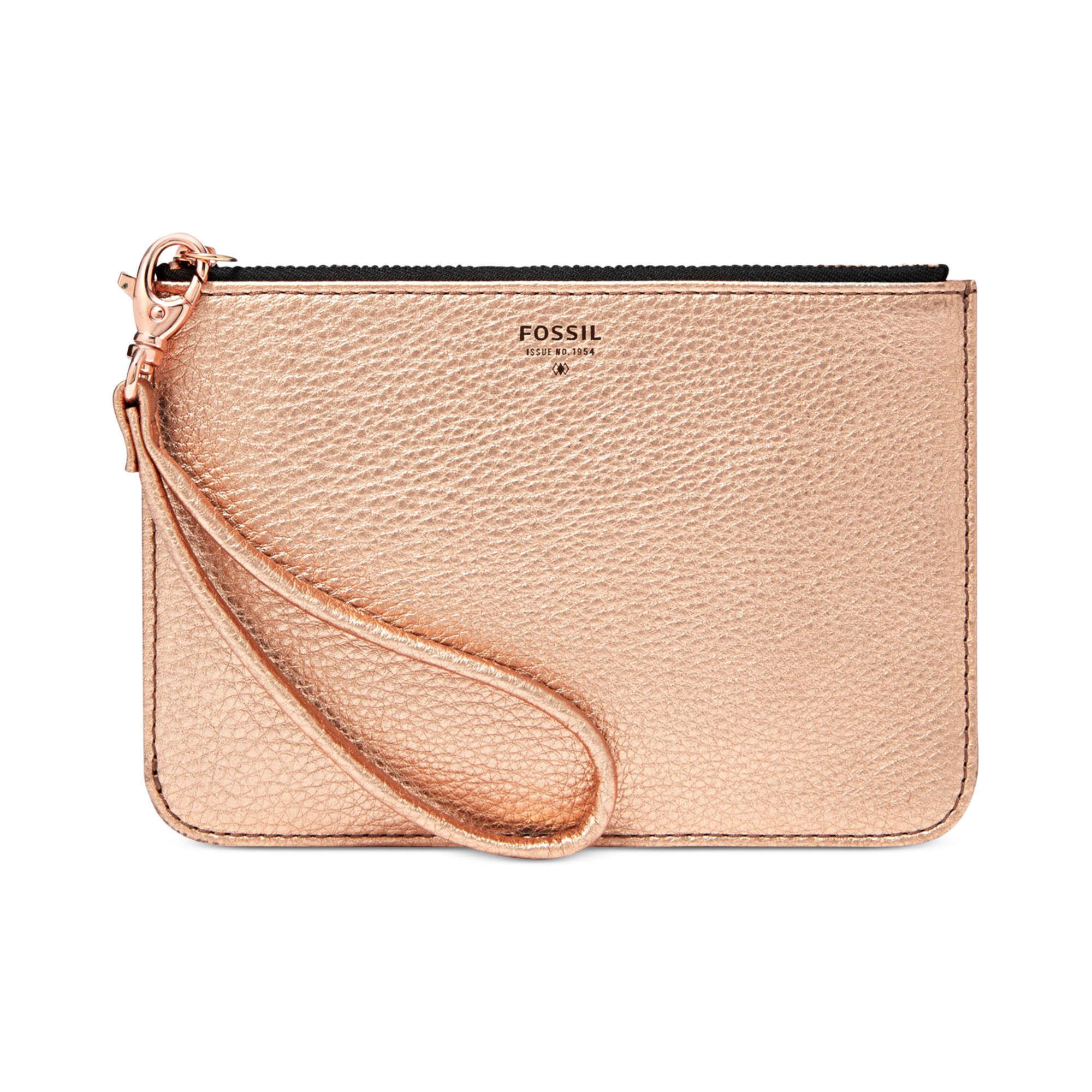 f9f34094b56 Fossil Metallic Leather Small Zip Pouch