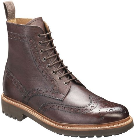 grenson brogue boots in purple for burgundy lyst