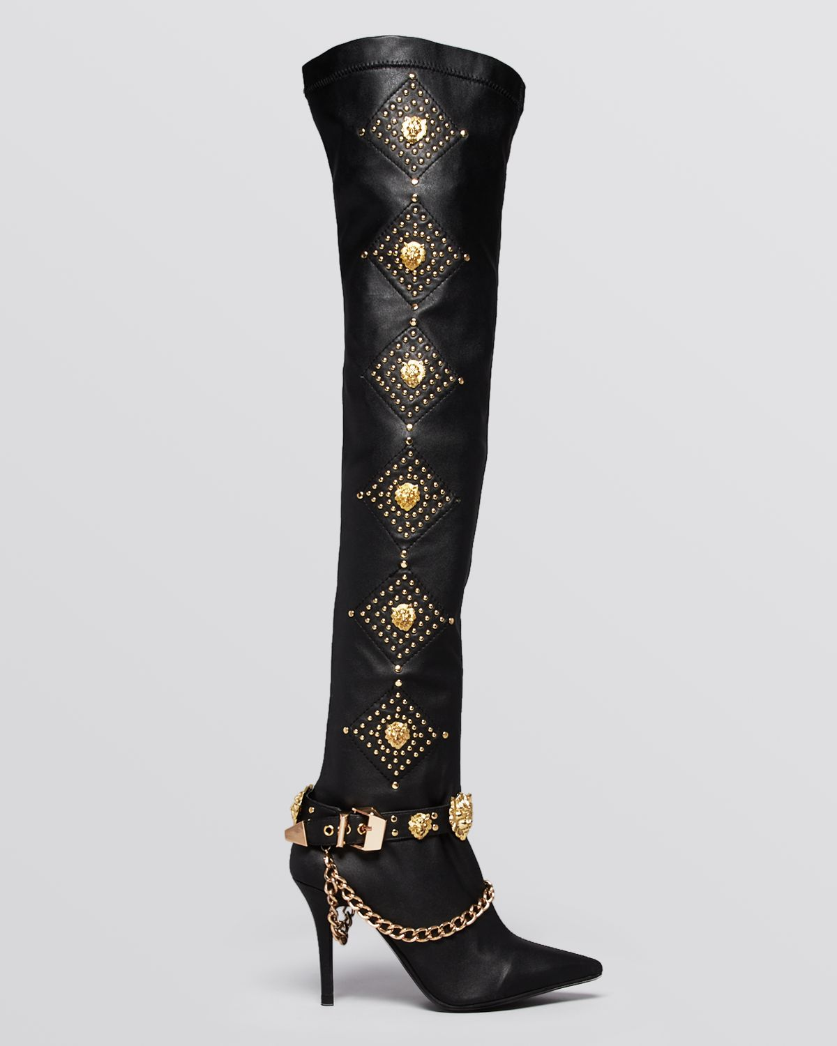 Jeffrey campbell Over The Knee Boots Purdy High Heel in Metallic ...