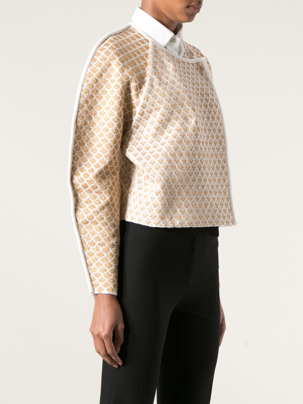 Lyst - Kenzo Jacquard Cocoon Sleeve Jacket in Natural