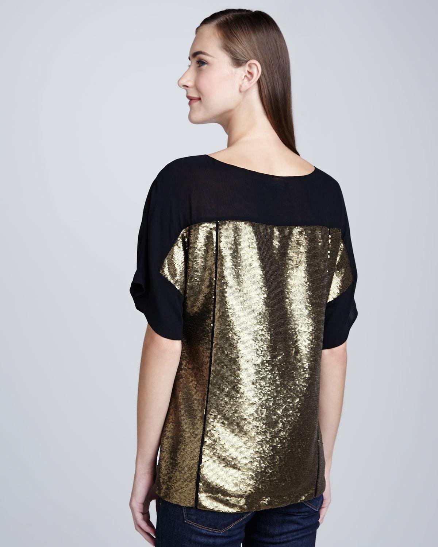 148 Best Images About Fingernail Art On Pinterest: Lafayette 148 New York Maryanne Gold Sequin Top In Black