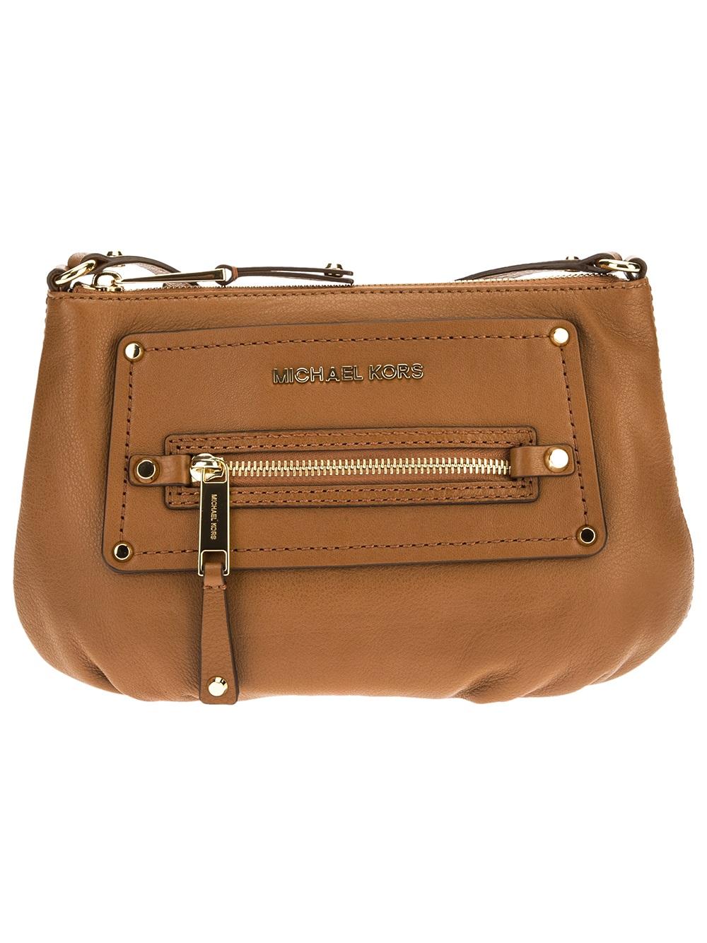 1fccf8eb7eb4 ... wholesale lyst michael kors gilmore satchel in brown bd752 d8f39