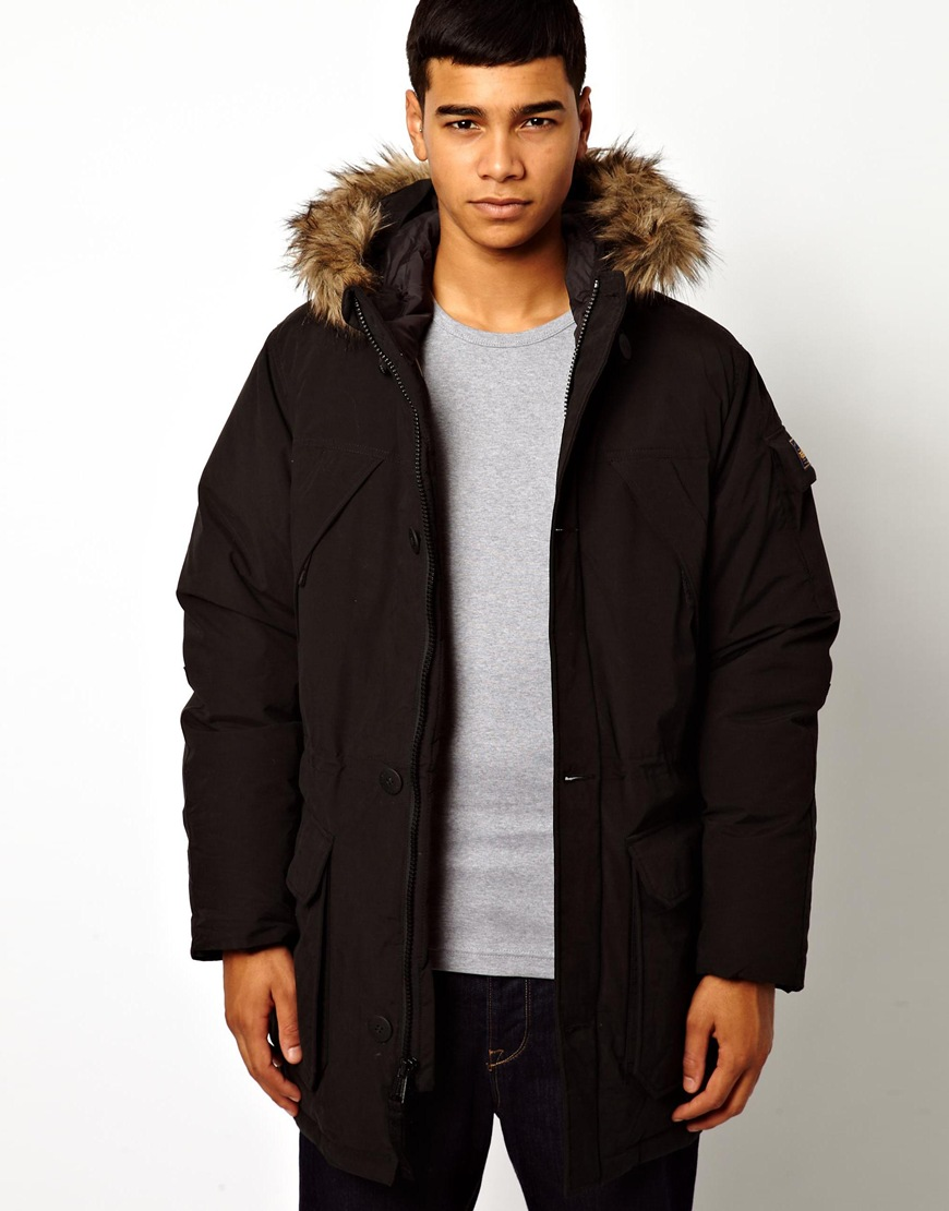 Penfield Parka with Faux Fur Hood in Black for Men | Lyst