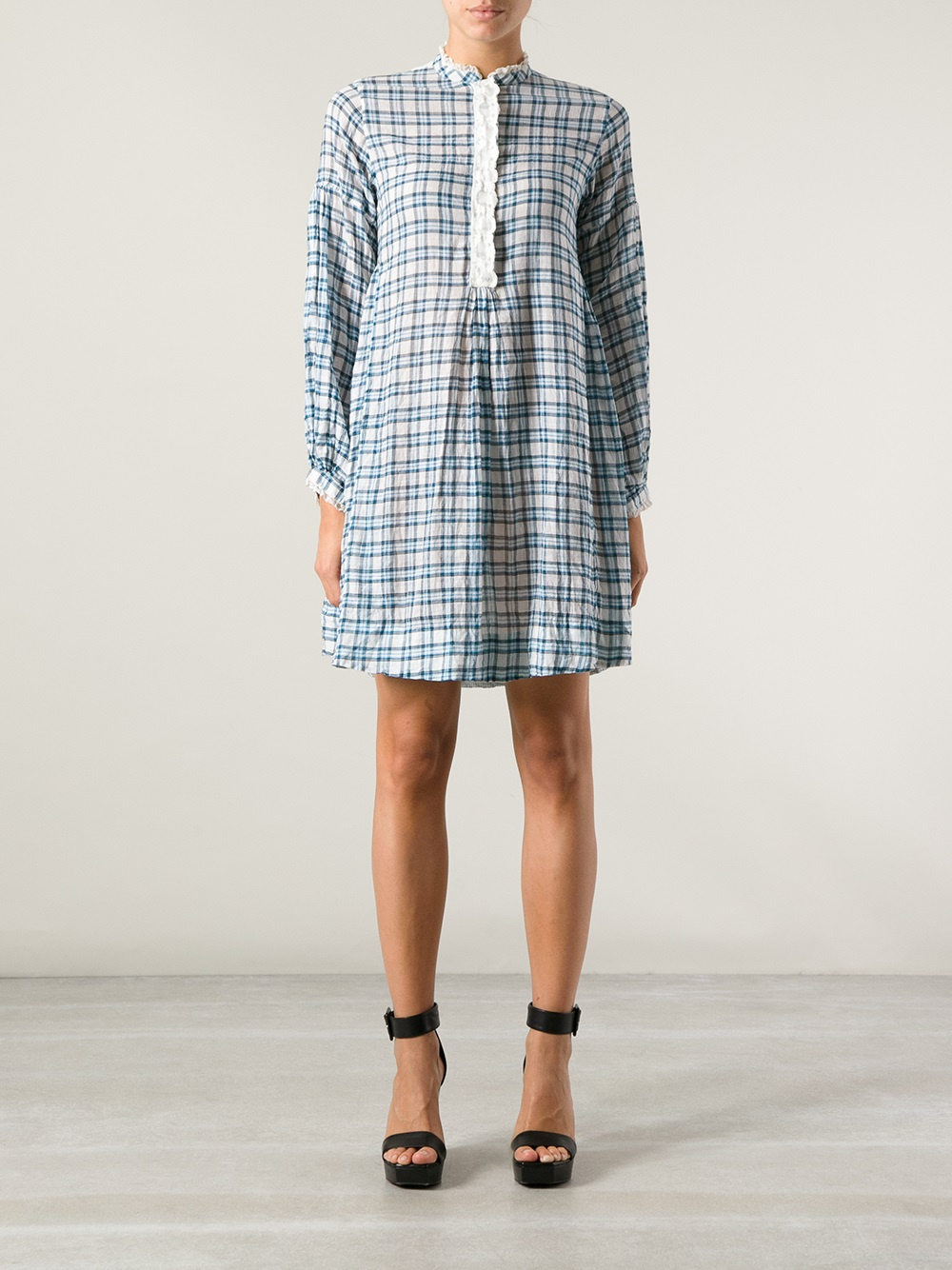 Lyst P Ro Checked Shirt Dress In Blue