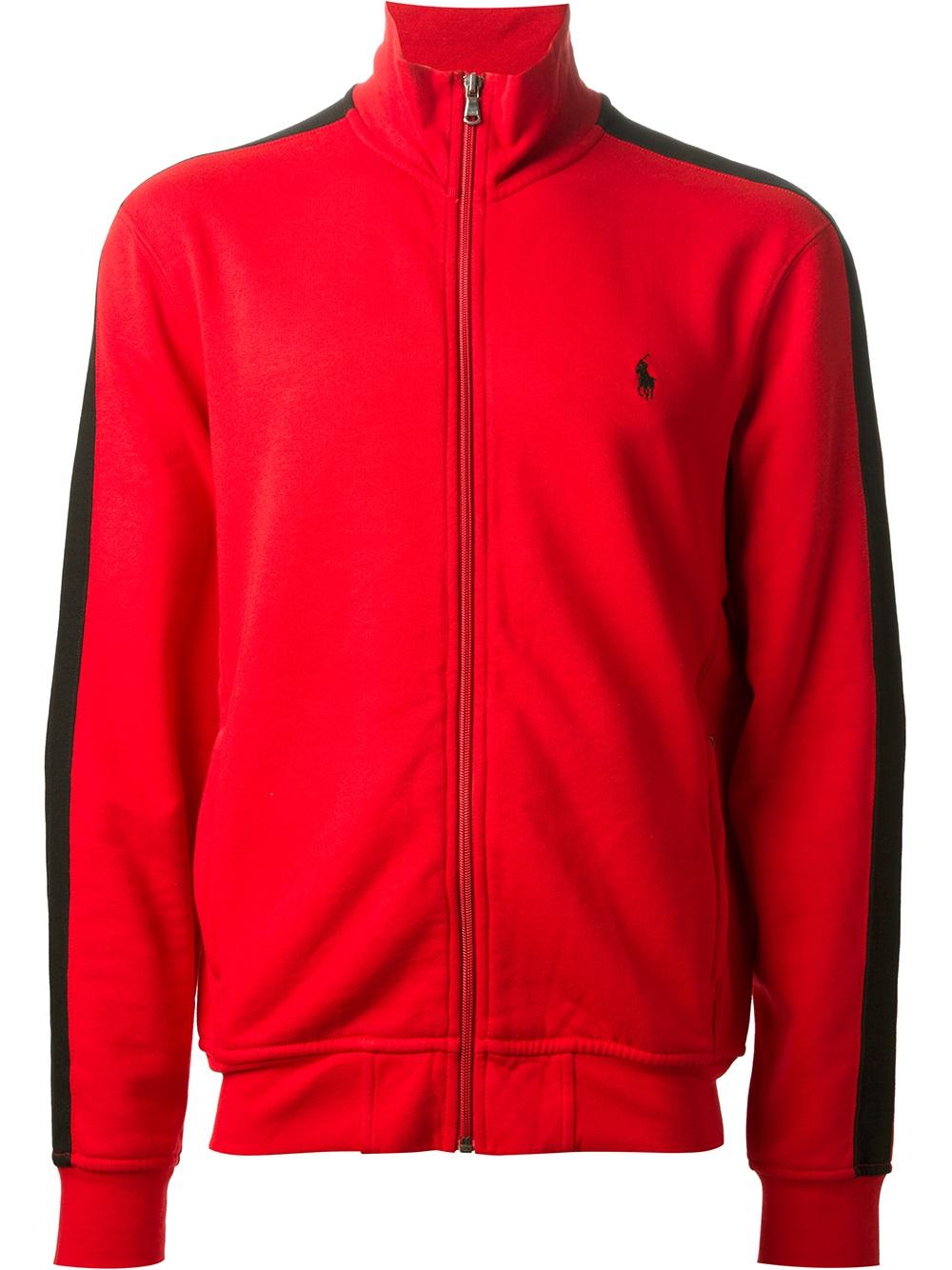 Lyst Polo Ralph Lauren Zipup Sweater In Red For Men