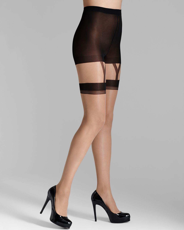 3c59d9e4c22 Pretty Polly 10D Nylon Gloss Mock Suspender Tights in Black - Lyst