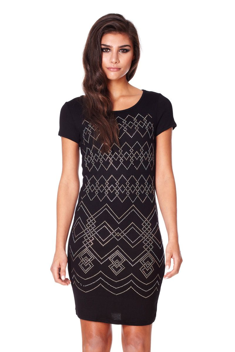 Knitting Trivia Questions : Lyst quiz embellished knit dress in black