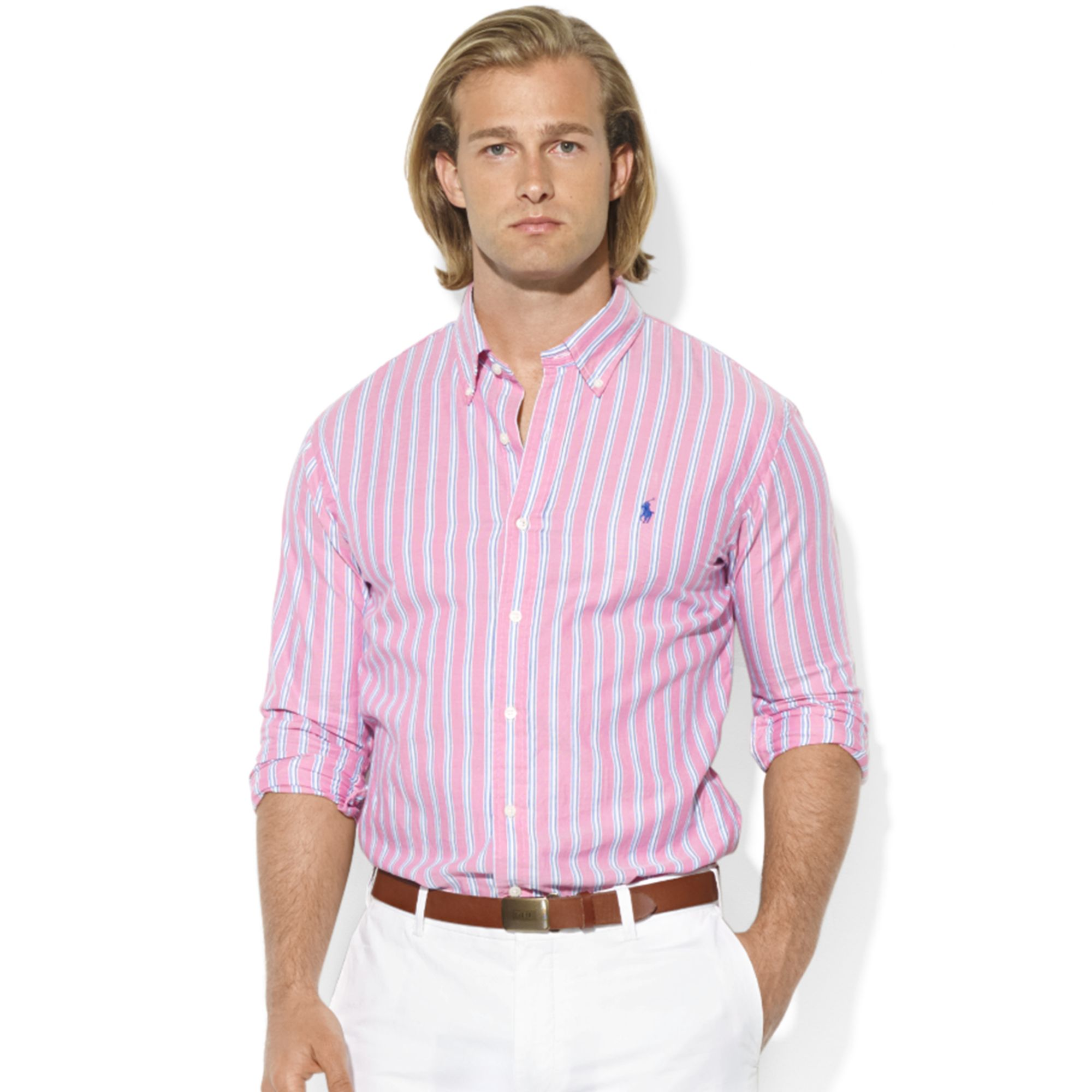 lyst ralph lauren customfit longsleeve striped oxford sport shirt in pink for men. Black Bedroom Furniture Sets. Home Design Ideas