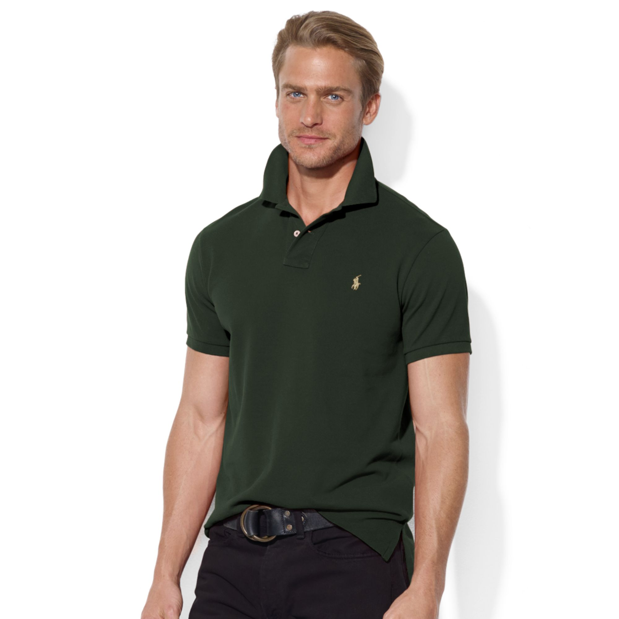 Ralph Lauren Long Sleeved Mesh Polo Men Green .