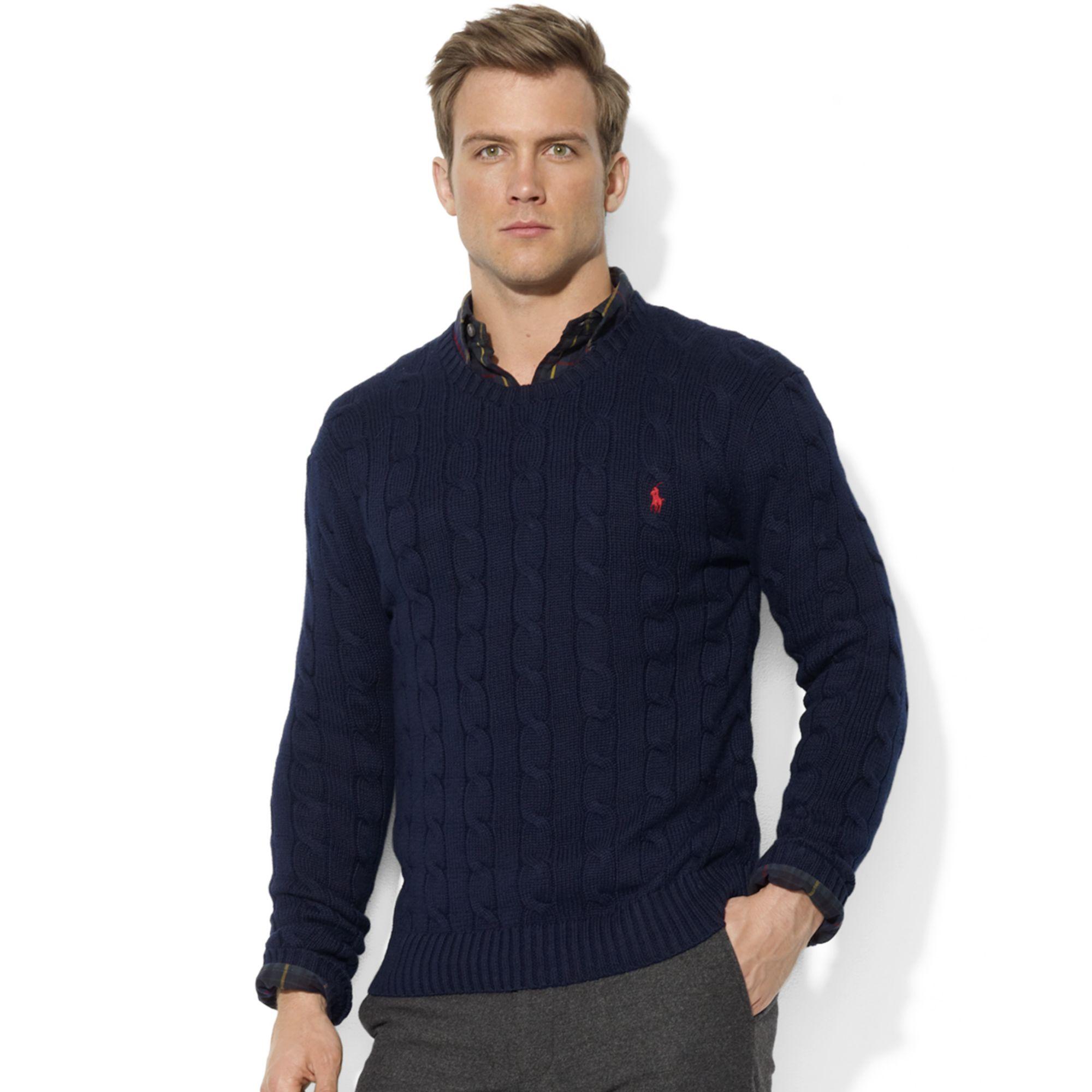 e8e0968881d ... australia lyst ralph lauren roving crew neck cable cotton sweater in  blue d53ce 5112f