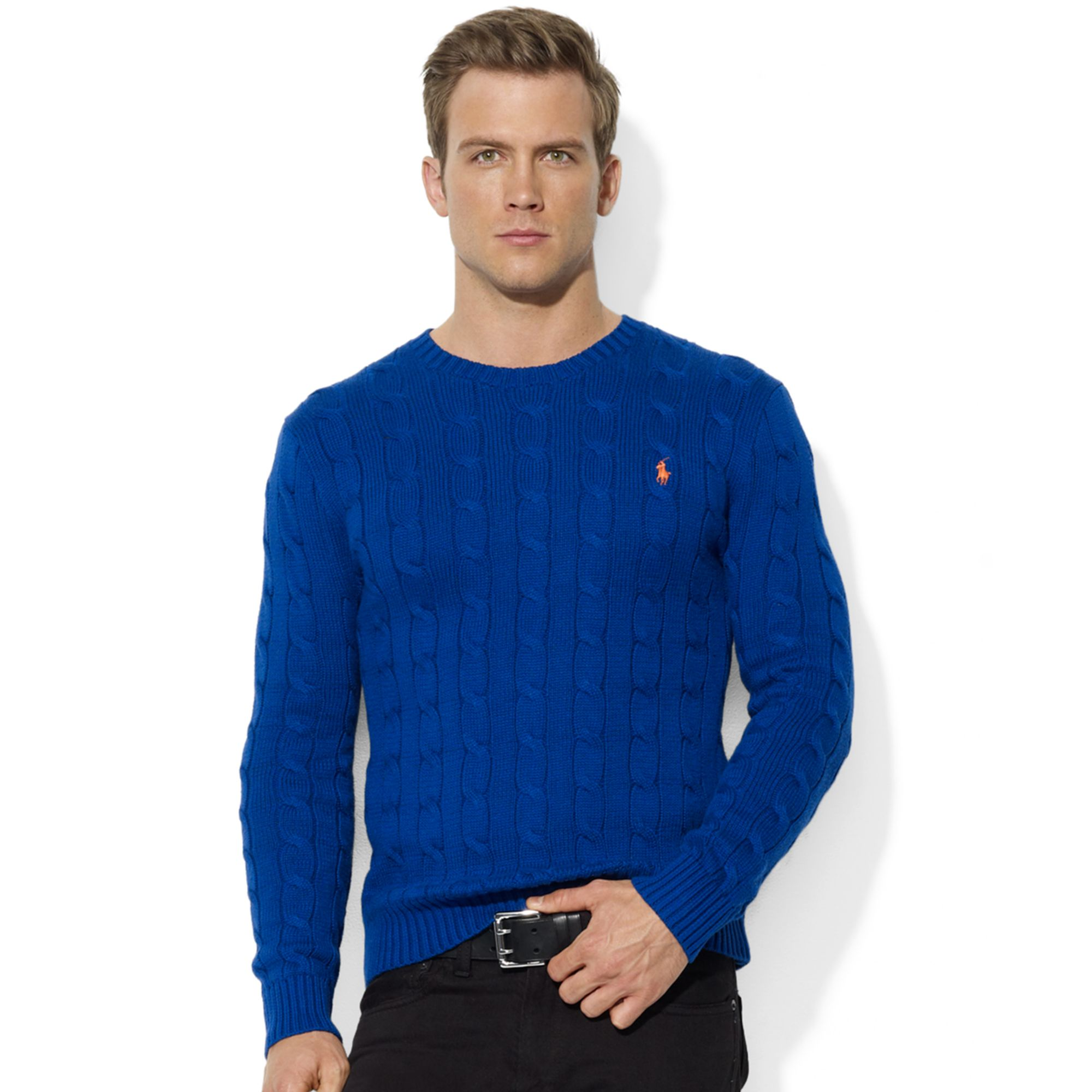 Ralph lauren Roving Crew Neck Cable Cotton Sweater in Blue for Men ...