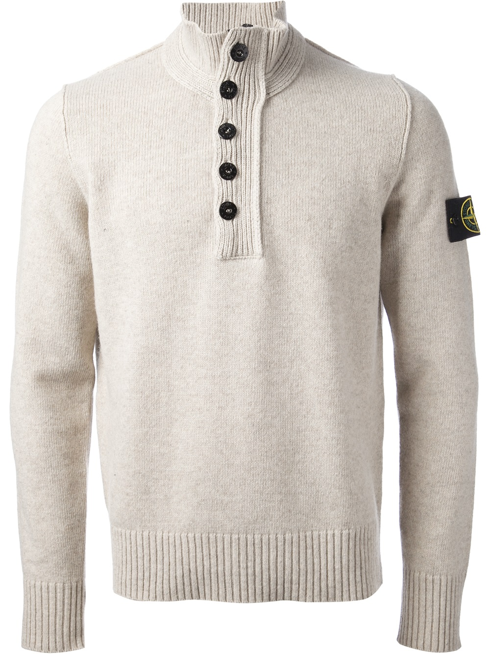 stone island button collar sweater in natural for men lyst. Black Bedroom Furniture Sets. Home Design Ideas