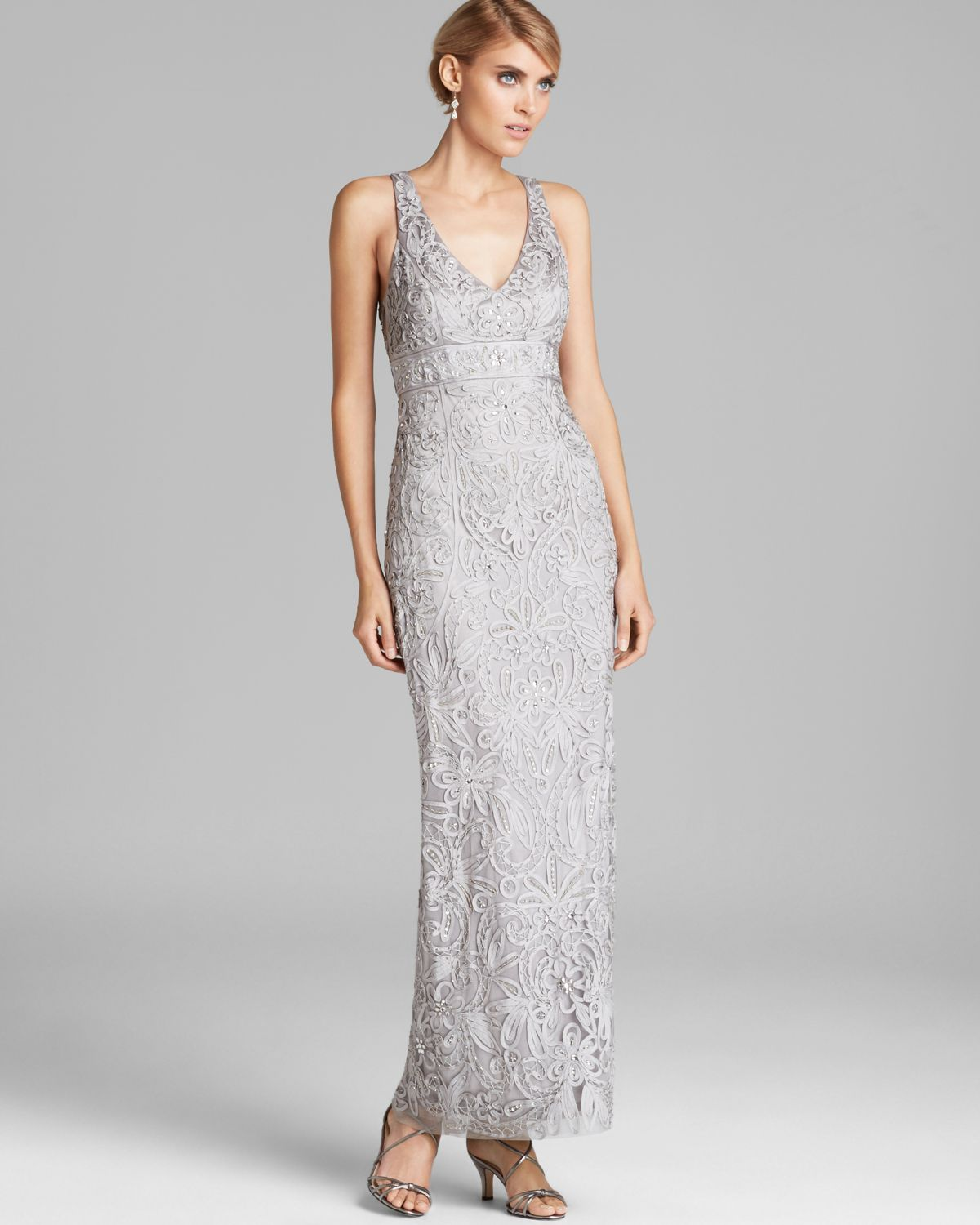 Lyst - Sue Wong V Neck Beaded Gown in Black