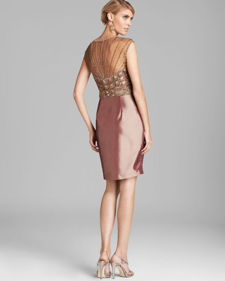Sue Wong Beaded Taffeta Skirt Dress In Pink (Toffee)