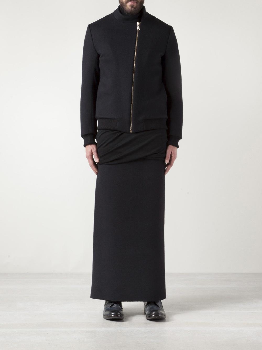 Thamanyah Asymmetrical Bomber Jacket in Black for Men