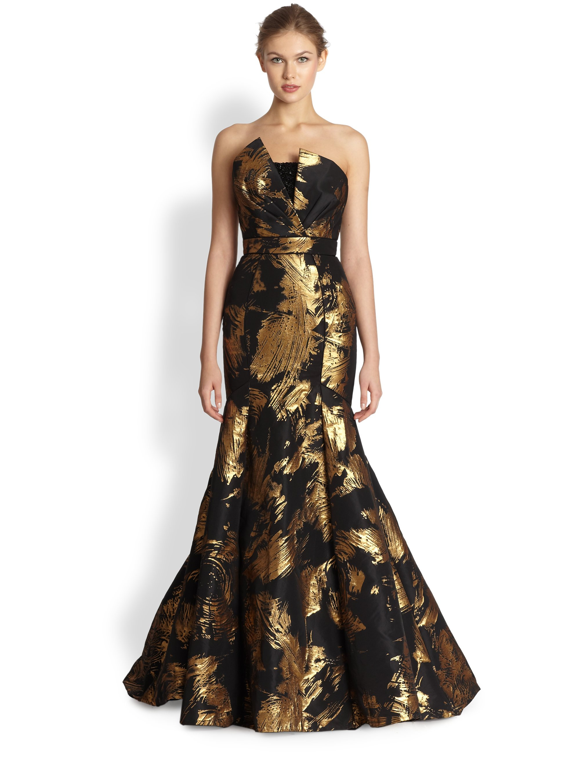 Theia Strapless Mermaid Gown In Black Gold Black Lyst
