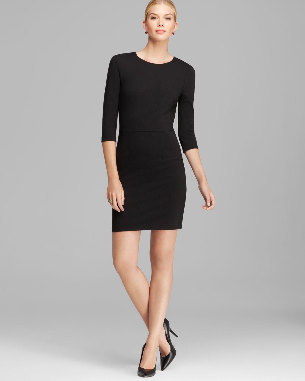 Lyst - Three Dots Three Quarter Sleeve Sheath Dress in Black