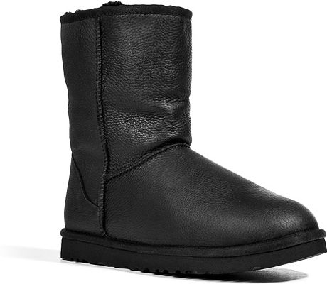 Ugg Leather Classic Short Boots In Black In Black For Men