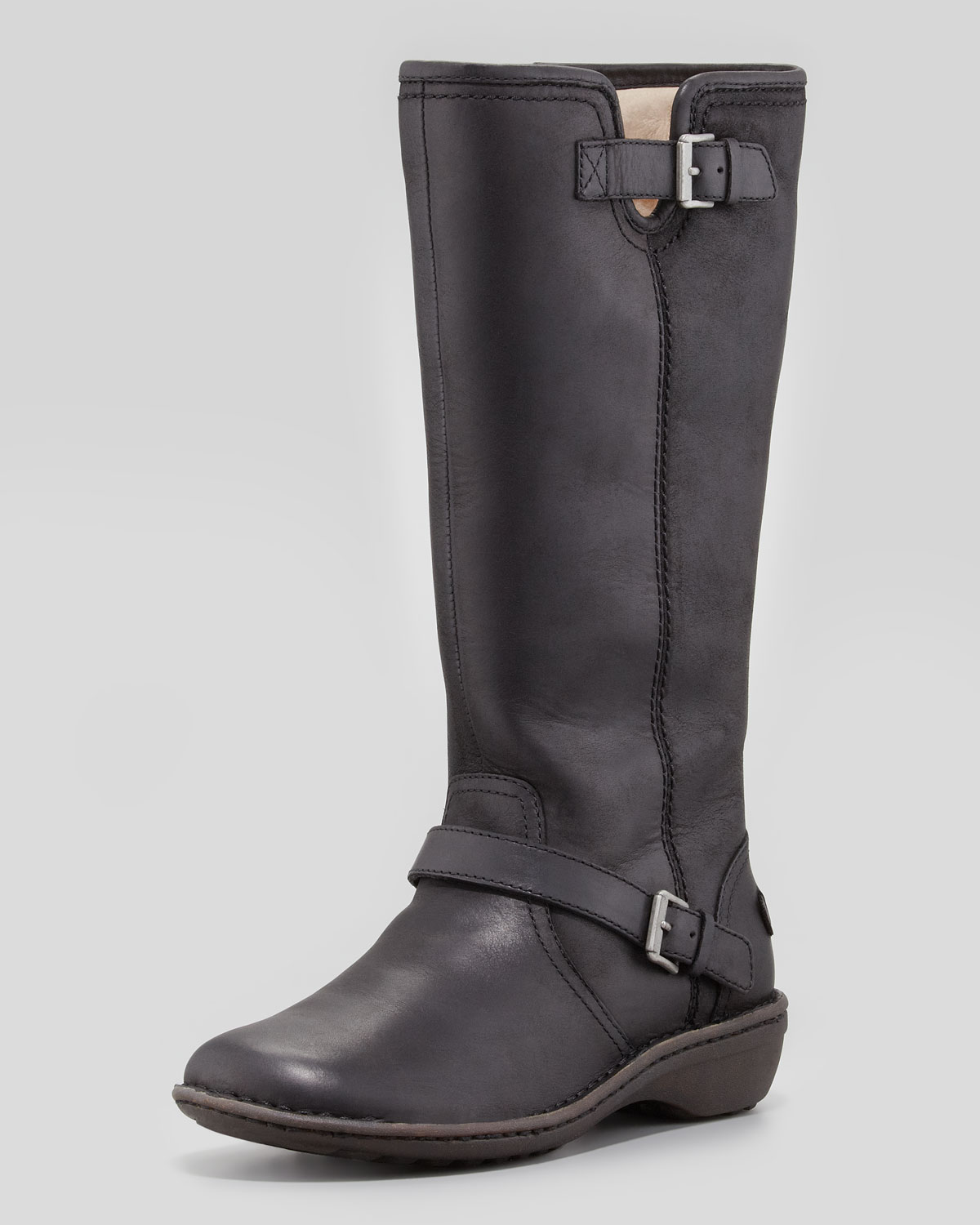 Ugg Tupelo Tall Leather Boot Black In Black Lyst