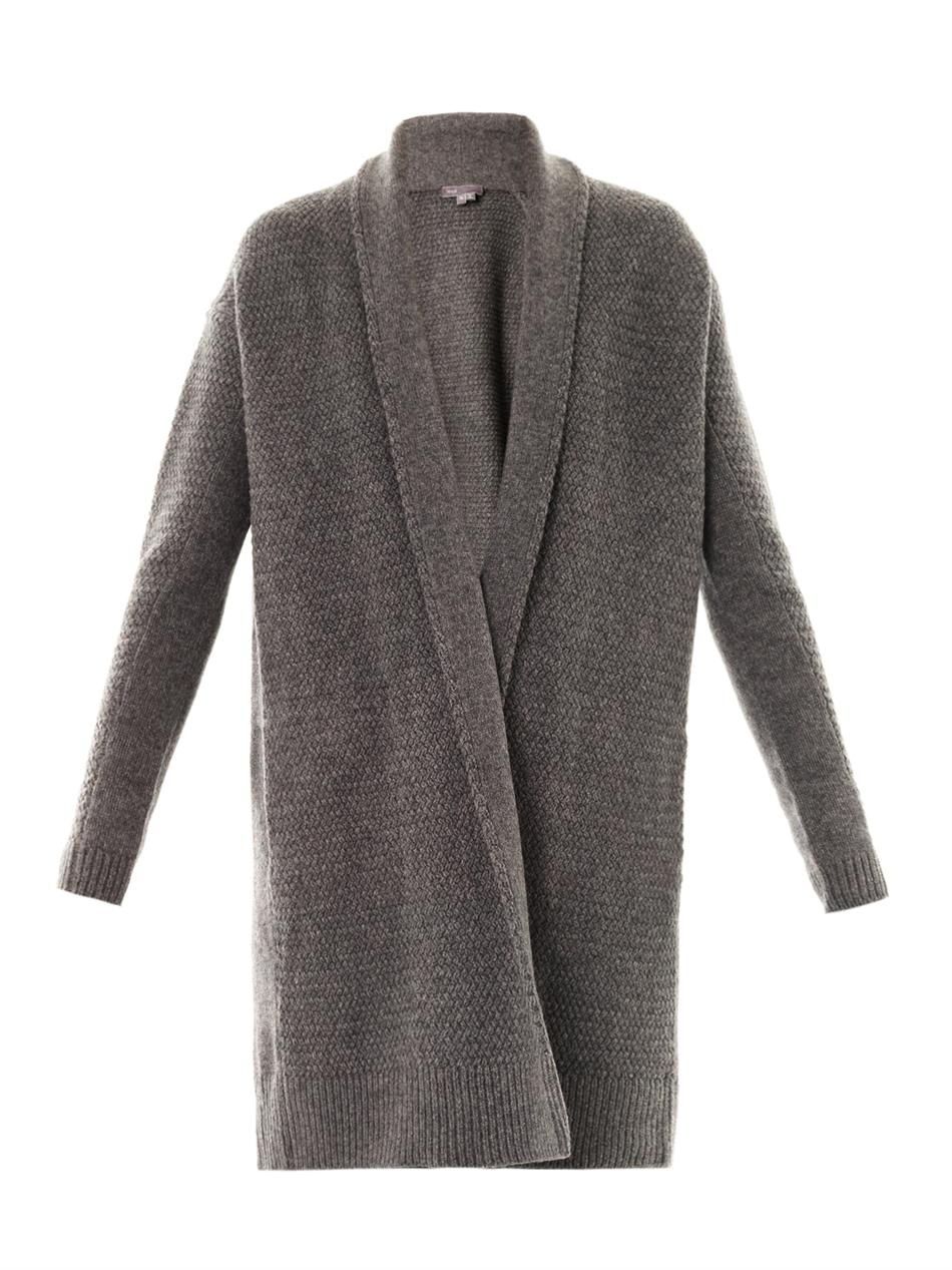 Vince Textured-knit Draped Cardigan in Gray | Lyst