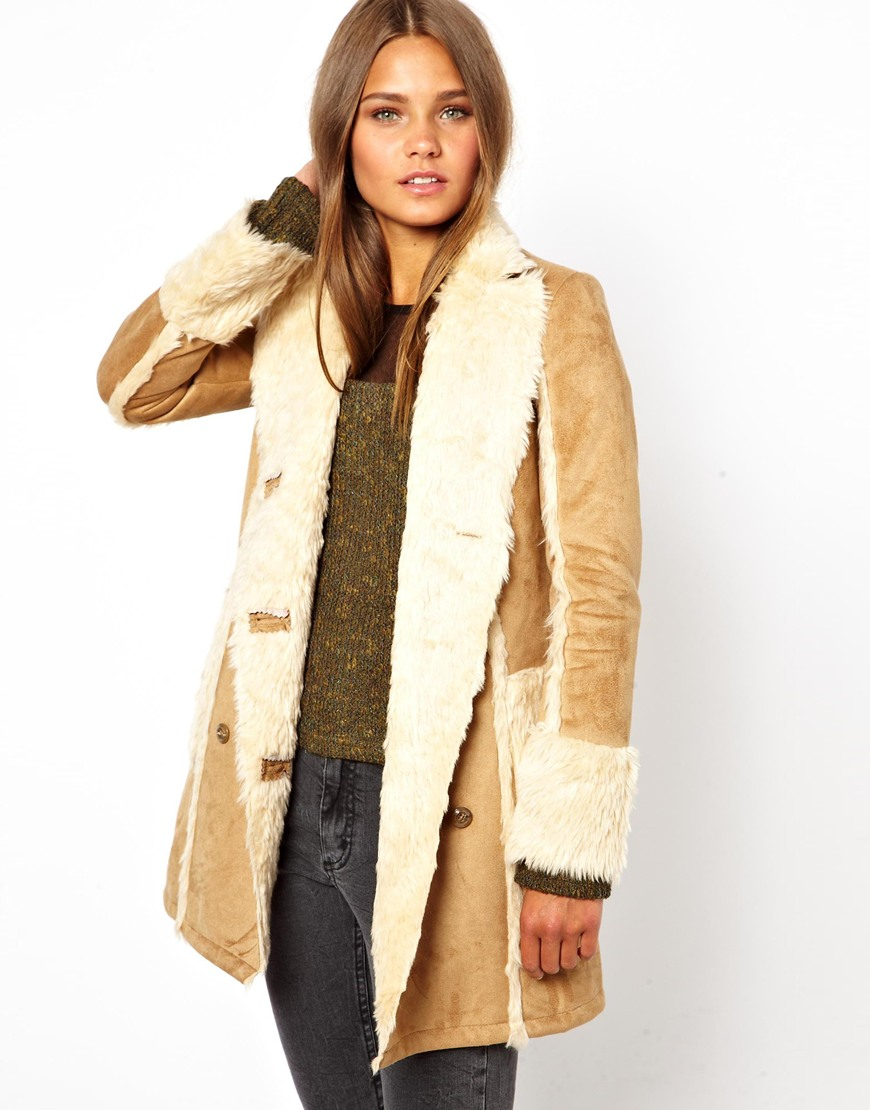 Camel Shearling Coat