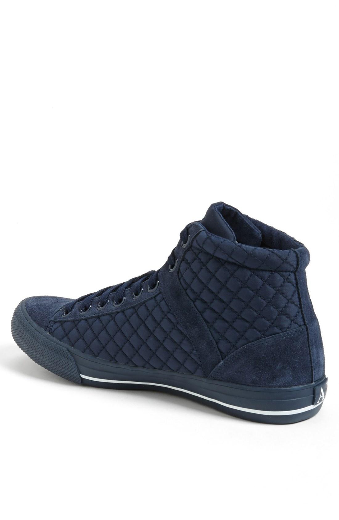 armani jeans quilted sneaker in black for men navy lyst. Black Bedroom Furniture Sets. Home Design Ideas
