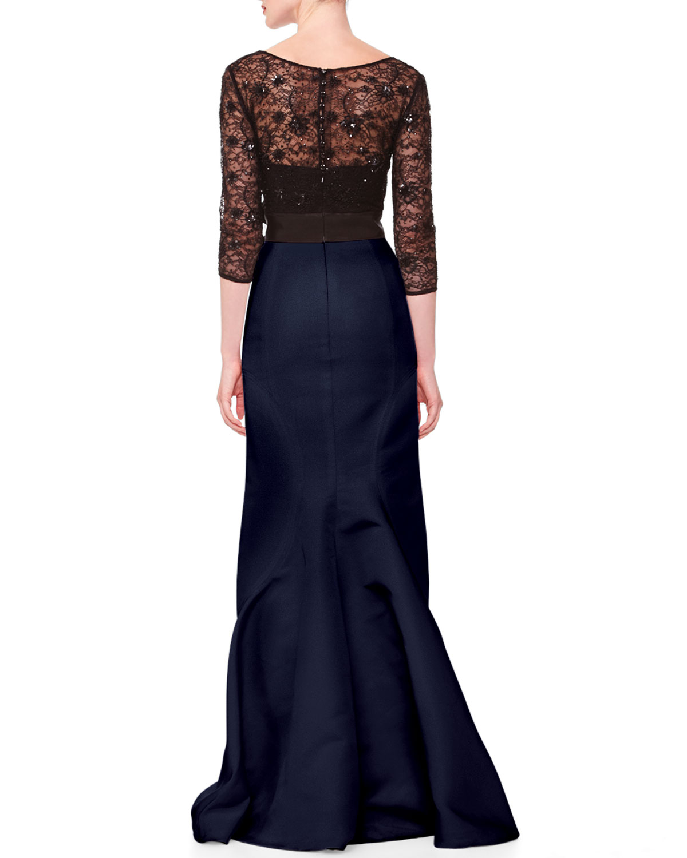 Carolina Herrera Lace Top Taffeta Gown In Blue Lyst