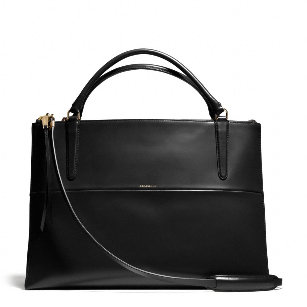 Coach The Large Borough Bag in Polished Calfskin in Black ...