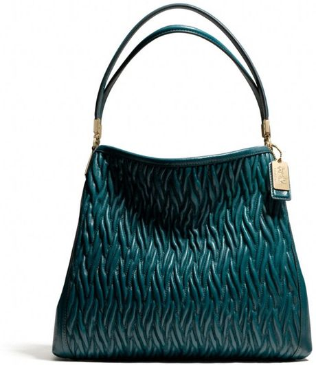 Coach Madison Small Phoebe Shoulder Bag in Gathered Twist Leather in Green (LI/DK TEAL)