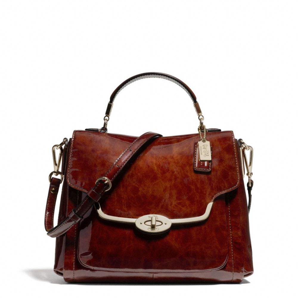 coach madison small sadie flap satchel in patent leather in brown lyst. Black Bedroom Furniture Sets. Home Design Ideas