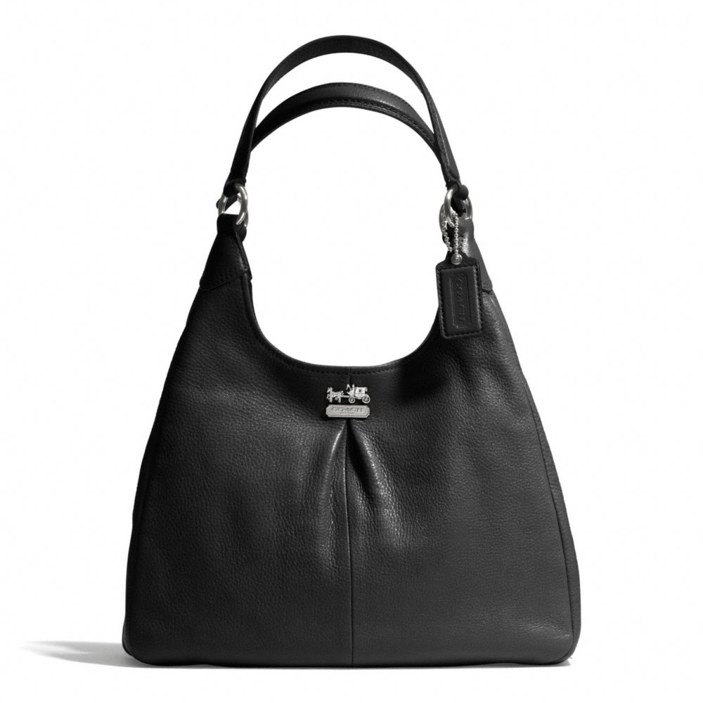 lyst coach madison maggie shoulder bag in leather in black