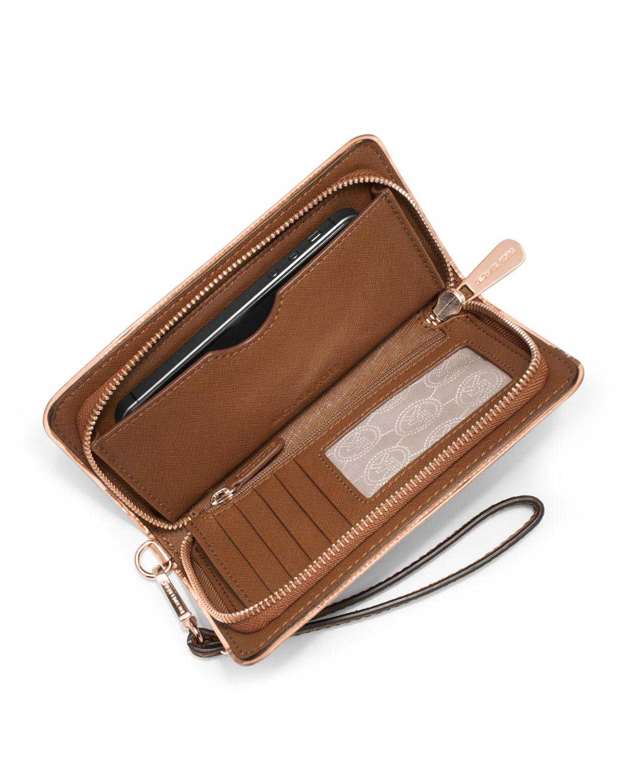 e222710310e4 ... get lyst michael michael kors large jet set travel wallet in brown  ace2a 88988